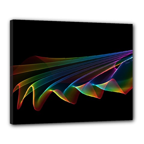 Flowing Fabric of Rainbow Light, Abstract  Canvas 20  x 16  (Framed)