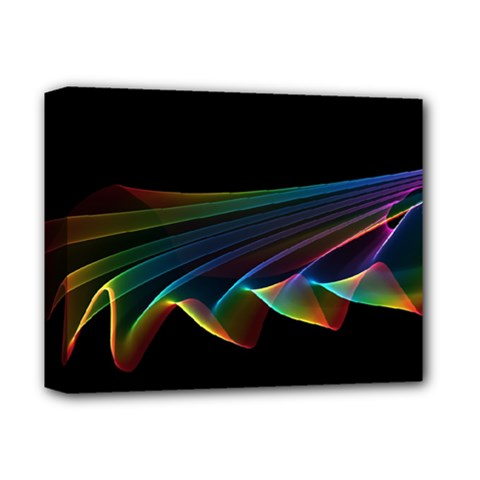 Flowing Fabric Of Rainbow Light, Abstract  Deluxe Canvas 14  X 11  (framed)