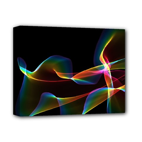 Fluted Cosmic Rafluted Cosmic Rainbow, Abstract Winds Deluxe Canvas 14  x 11  (Framed)