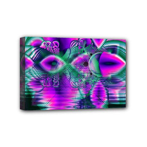 Teal Violet Crystal Palace, Abstract Cosmic Heart Mini Canvas 6  X 4  (framed)