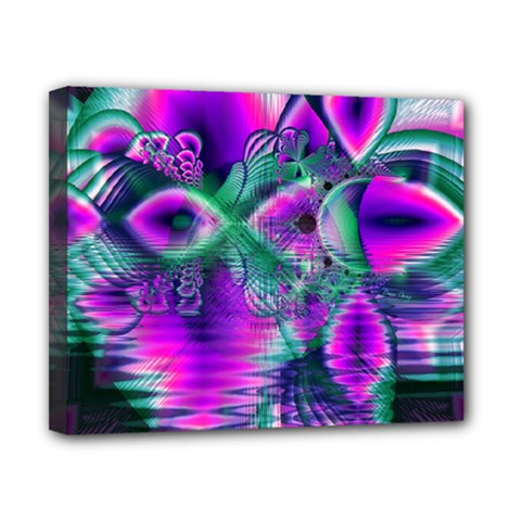 Teal Violet Crystal Palace, Abstract Cosmic Heart Canvas 10  x 8  (Framed)