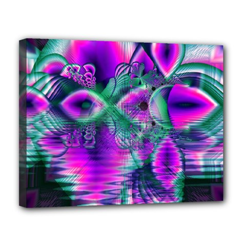 Teal Violet Crystal Palace, Abstract Cosmic Heart Canvas 14  x 11  (Framed)