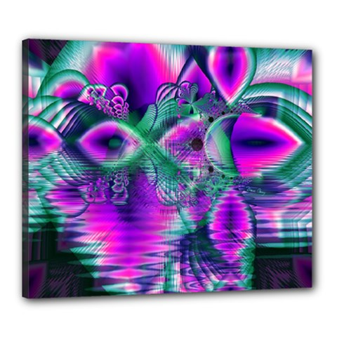 Teal Violet Crystal Palace, Abstract Cosmic Heart Canvas 24  x 20  (Framed)
