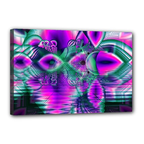 Teal Violet Crystal Palace, Abstract Cosmic Heart Canvas 18  x 12  (Framed)