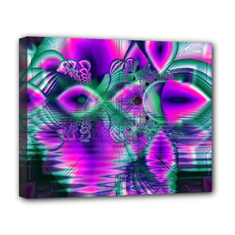 Teal Violet Crystal Palace, Abstract Cosmic Heart Deluxe Canvas 20  x 16  (Framed)