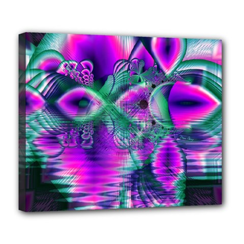 Teal Violet Crystal Palace, Abstract Cosmic Heart Deluxe Canvas 24  X 20  (framed)