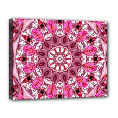 Twirling Pink, Abstract Candy Lace Jewels Mandala  Canvas 14  x 11  (Framed)