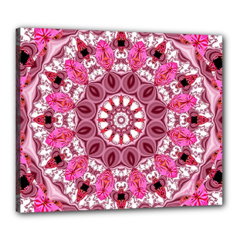 Twirling Pink, Abstract Candy Lace Jewels Mandala  Canvas 24  x 20  (Framed)