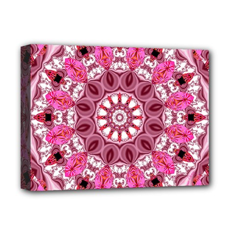 Twirling Pink, Abstract Candy Lace Jewels Mandala  Deluxe Canvas 16  x 12  (Framed)