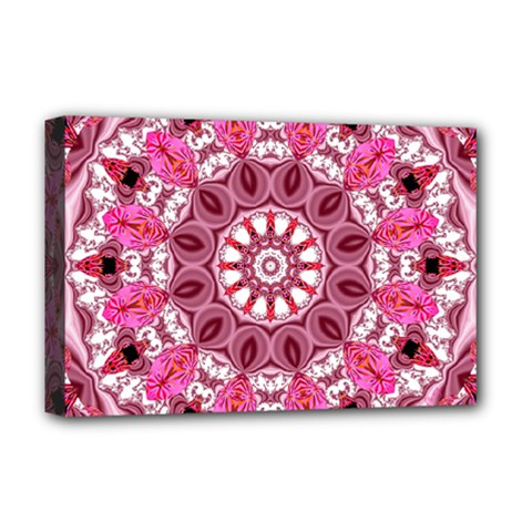 Twirling Pink, Abstract Candy Lace Jewels Mandala  Deluxe Canvas 18  x 12  (Framed)