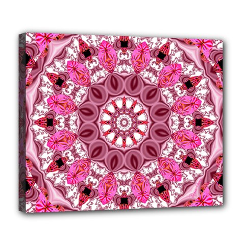 Twirling Pink, Abstract Candy Lace Jewels Mandala  Deluxe Canvas 24  x 20  (Framed)