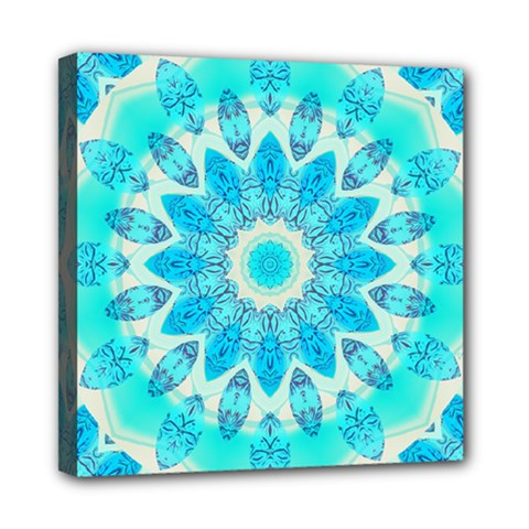 Blue Ice Goddess, Abstract Crystals Of Love Mini Canvas 8  x 8  (Framed)