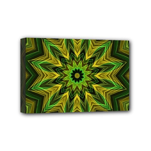 Woven Jungle Leaves Mandala Mini Canvas 6  x 4  (Framed)