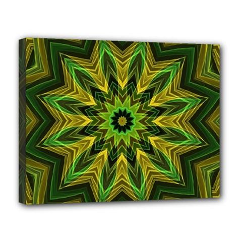 Woven Jungle Leaves Mandala Canvas 14  x 11  (Framed)