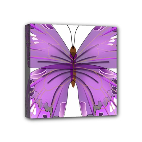 Purple Awareness Butterfly Mini Canvas 4  x 4  (Framed)