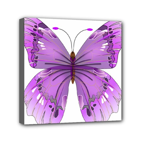 Purple Awareness Butterfly Mini Canvas 6  X 6  (framed)