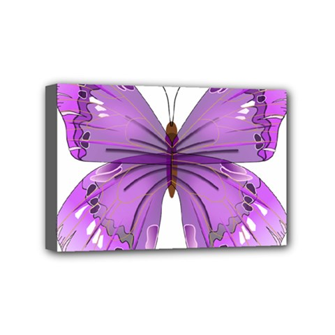 Purple Awareness Butterfly Mini Canvas 6  x 4  (Framed)