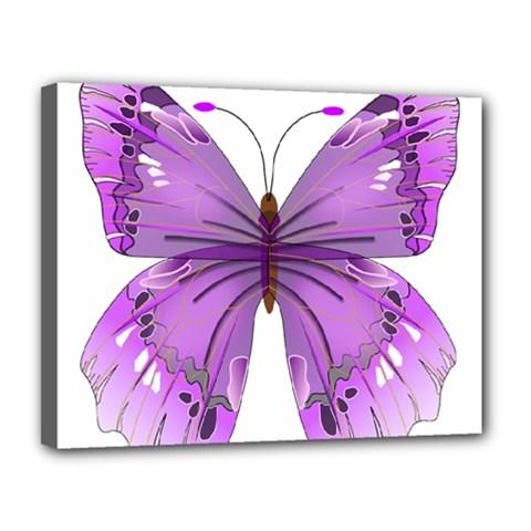 Purple Awareness Butterfly Canvas 14  x 11  (Framed)