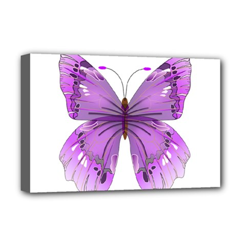 Purple Awareness Butterfly Deluxe Canvas 18  X 12  (framed)