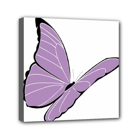Purple Awareness Butterfly 2 Mini Canvas 6  x 6  (Framed)