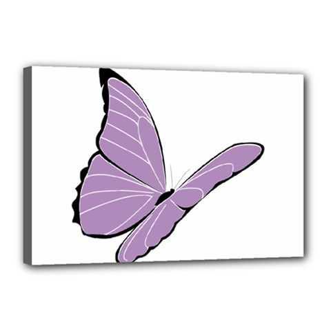 Purple Awareness Butterfly 2 Canvas 18  x 12  (Framed)