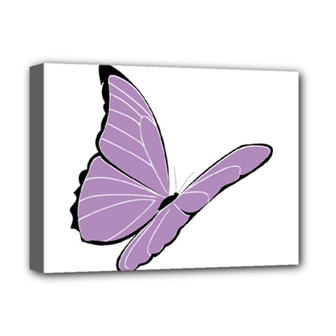 Purple Awareness Butterfly 2 Deluxe Canvas 16  x 12  (Framed)