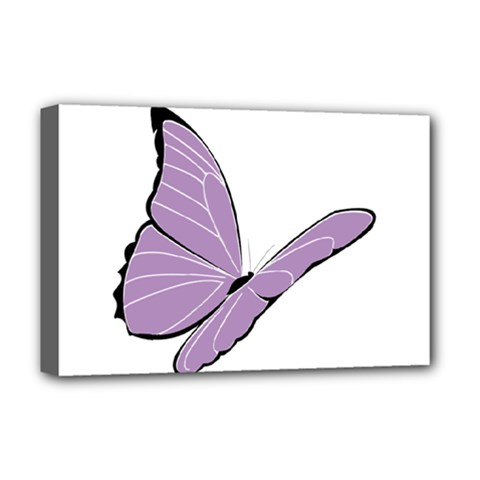 Purple Awareness Butterfly 2 Deluxe Canvas 18  x 12  (Framed)