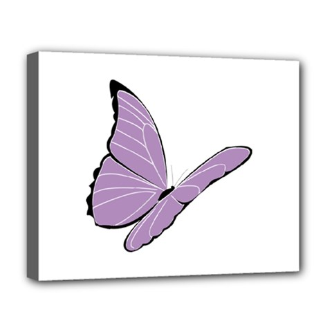 Purple Awareness Butterfly 2 Deluxe Canvas 20  x 16  (Framed)