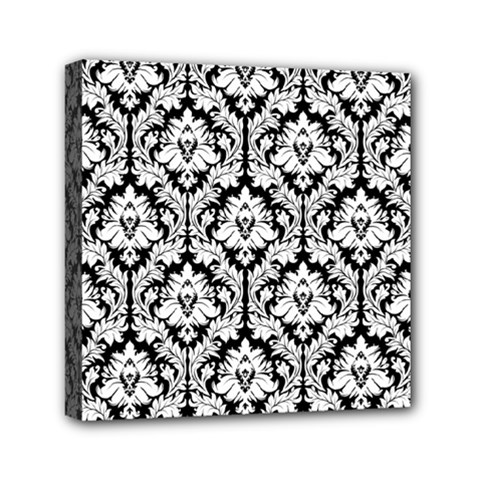 White On Black Damask Mini Canvas 6  x 6  (Framed)