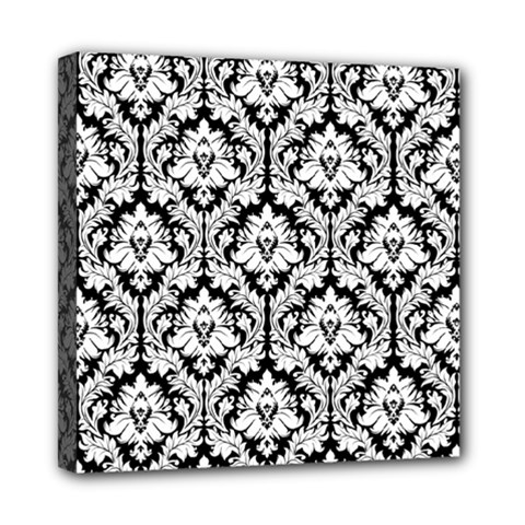 White On Black Damask Mini Canvas 8  X 8  (framed)