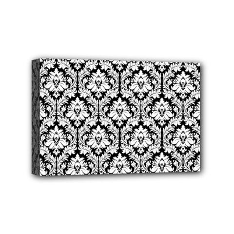 White On Black Damask Mini Canvas 6  x 4  (Framed)