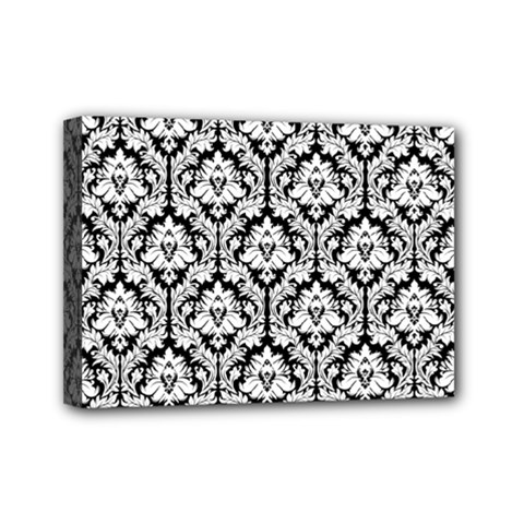 White On Black Damask Mini Canvas 7  X 5  (framed)