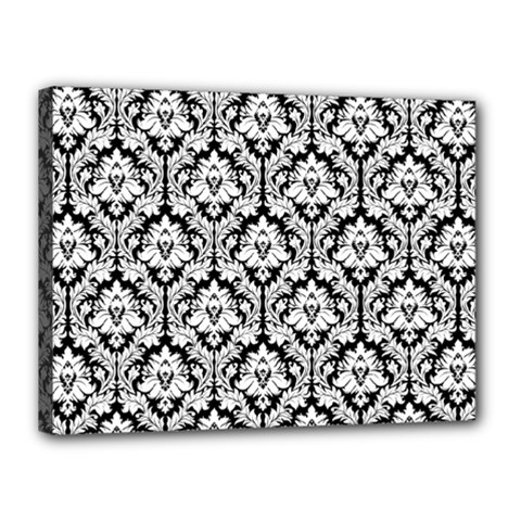 White On Black Damask Canvas 16  x 12  (Framed)
