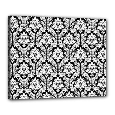 White On Black Damask Canvas 20  X 16  (framed)