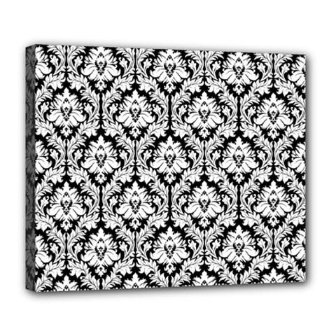 White On Black Damask Deluxe Canvas 24  X 20  (framed)