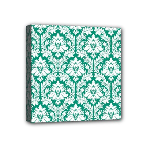 White On Emerald Green Damask Mini Canvas 4  x 4  (Framed)