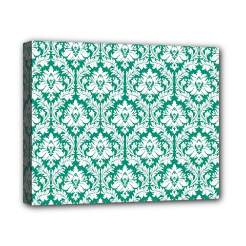 White On Emerald Green Damask Canvas 10  X 8  (framed)