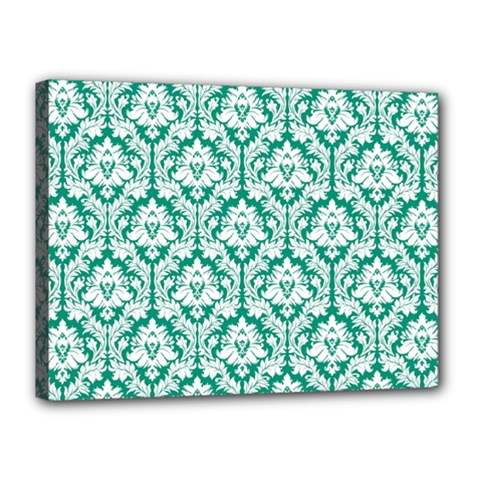 White On Emerald Green Damask Canvas 16  x 12  (Framed)
