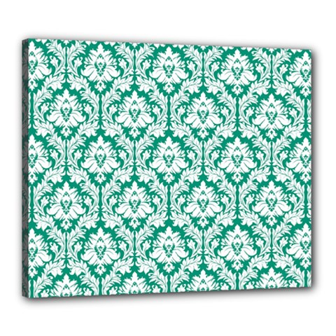 White On Emerald Green Damask Canvas 24  x 20  (Framed)