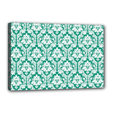White On Emerald Green Damask Canvas 18  x 12  (Framed)