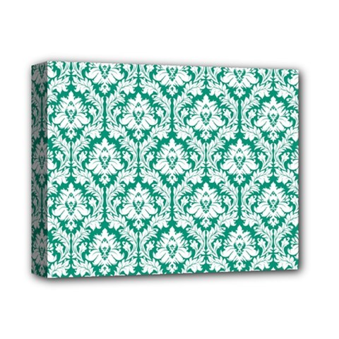 White On Emerald Green Damask Deluxe Canvas 14  x 11  (Framed)