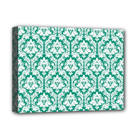 White On Emerald Green Damask Deluxe Canvas 16  x 12  (Framed)