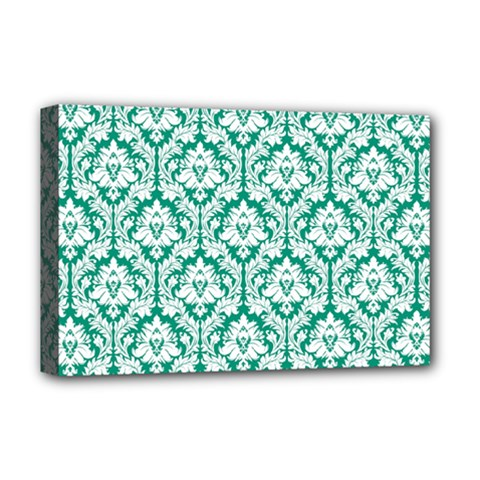 White On Emerald Green Damask Deluxe Canvas 18  x 12  (Framed)
