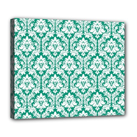 White On Emerald Green Damask Deluxe Canvas 24  x 20  (Framed)