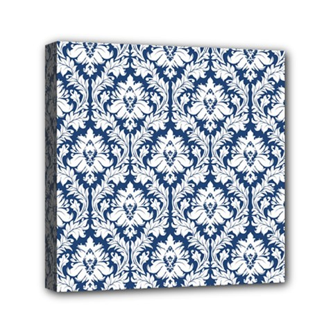 White On Blue Damask Mini Canvas 6  x 6  (Framed)