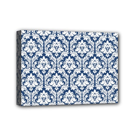 White On Blue Damask Mini Canvas 7  x 5  (Framed)
