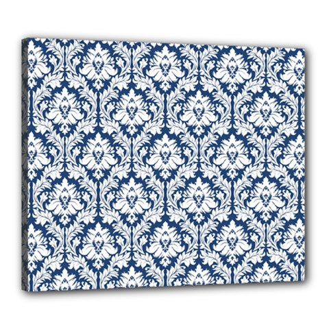 White On Blue Damask Canvas 24  x 20  (Framed)