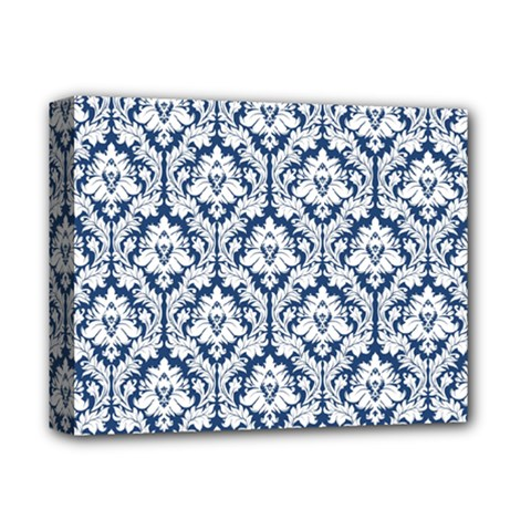 White On Blue Damask Deluxe Canvas 14  x 11  (Framed)