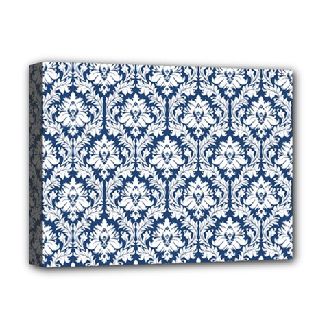 White On Blue Damask Deluxe Canvas 16  x 12  (Framed)
