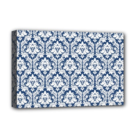 White On Blue Damask Deluxe Canvas 18  x 12  (Framed)